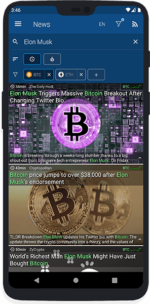 Crypto news search and filter