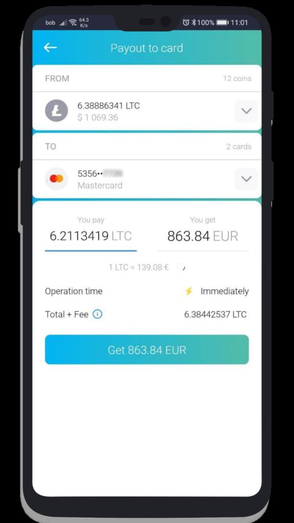 The Crypto App Wallet (Auszahlung auf Mastercard)